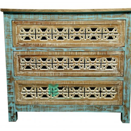 3 Drawers Carved Chest of Drawer Sideboard