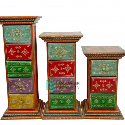 Fine Emboss Painted Pillar Set of 3