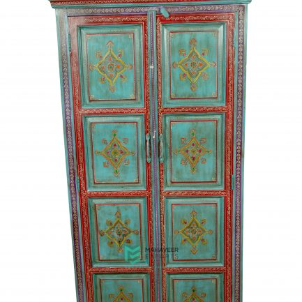 Fine Emboss Turquoise Painted Almirah