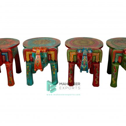 Fine Emboss Painted Elephant Stool Set of 4