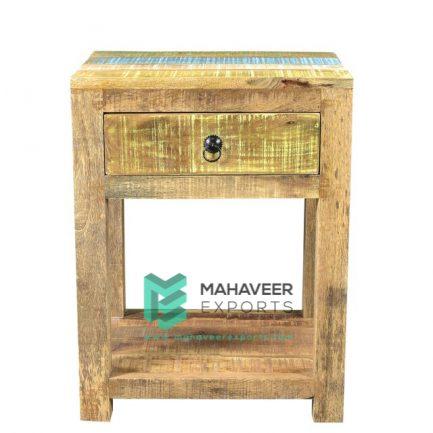 Rustic 1 Drawer Multi Colored Side Table