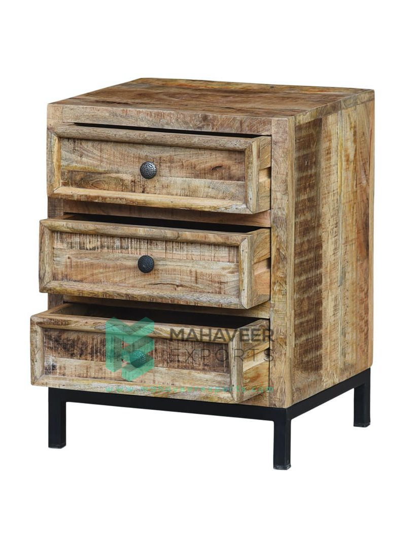3 Drawer Rustic Chest of Drawers with Iron Stand