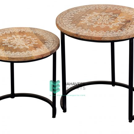 Emboss Painted Industrial Nested Tables Set of 2
