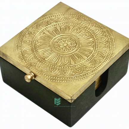 Brass Fitted Wooden Tea Coaster Set
