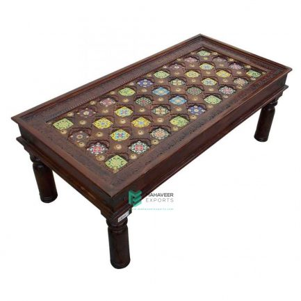 Brass Inlay & Tile Coffee Table