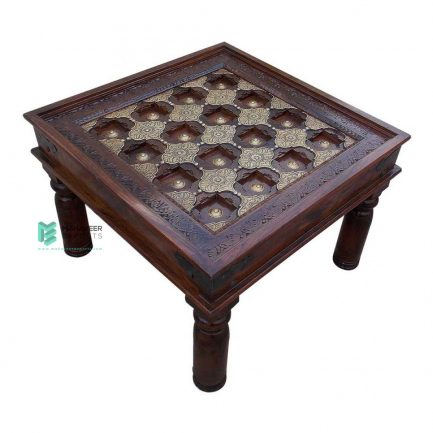 Brass Inlay Mango Wood Coffee Table
