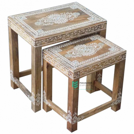 Emboss Painted Kundan Work Nested Tables