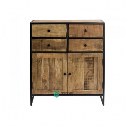 Industrial 4 Drawer 2 Door Sideboard