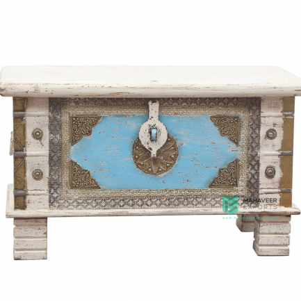 Brass Inlay White Blue Wooden Chest Box