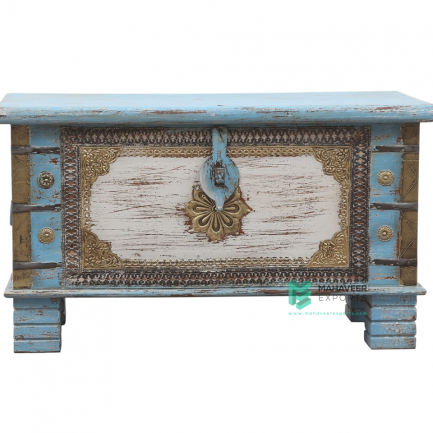 Brass Inlay Blue White Wooden Chest Box