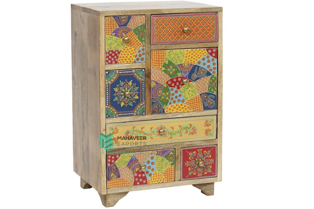 Multicolored Emboss Painted Chest of Drawers Sideboard
