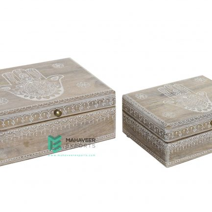Whitewashed Fine Emboss Painted Box Set of 2