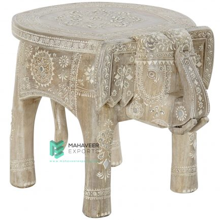 Fine Emboss Painted Kundan Work Elephant Stool