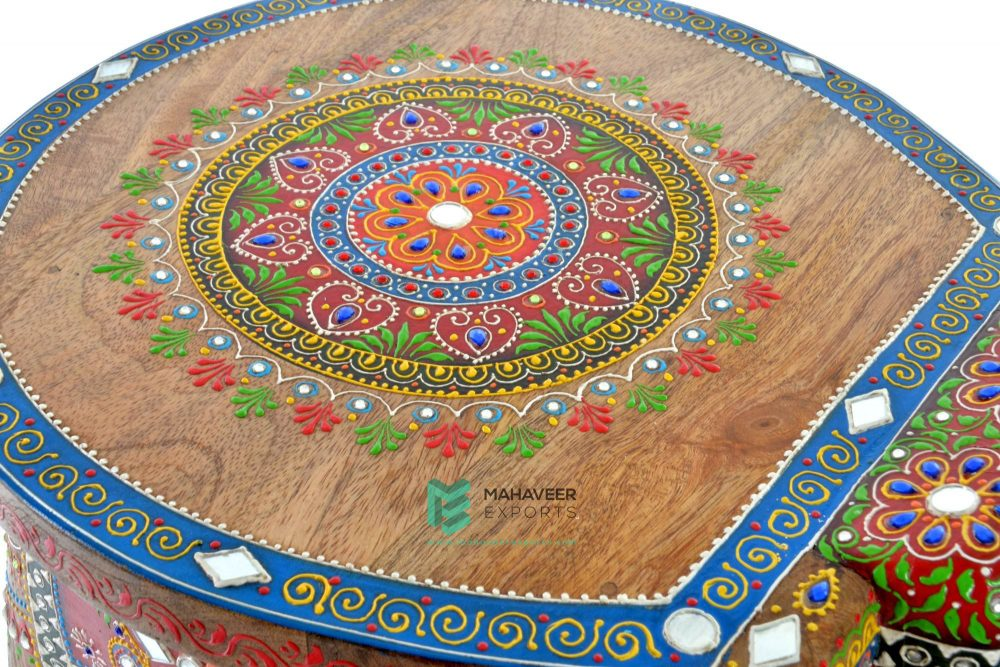 Multicolored Emboss Painted Kundan Work Elephant Stool