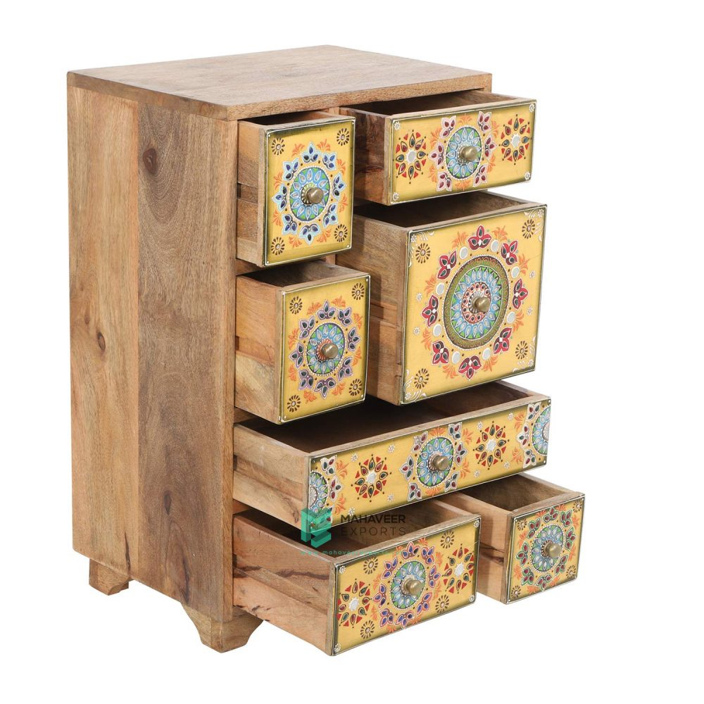 Emboss Painted Oriental Chest of Drawers Sideboard