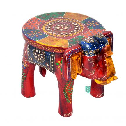 Emboss Painted Kundan Work Elephant Stool