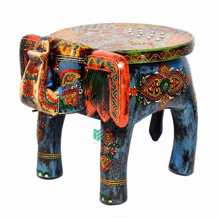 Fine Emboss Painted Elephant Stool