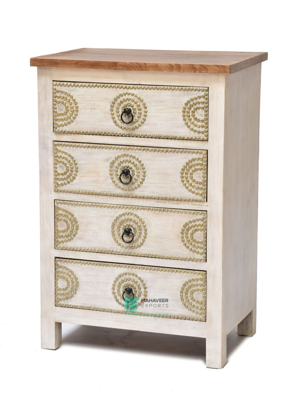 Brass Inlay Wooden Chest of Drawers