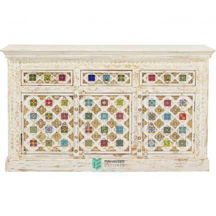 Bakhra Carved Tile & Brass Inlay 3 Drawer 3 Door Sideboard