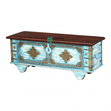Turquoise and White Distressed Brass Inlay Wooden Chest Box