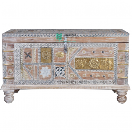 White Wash Distressed Brass Wooden Chest Box