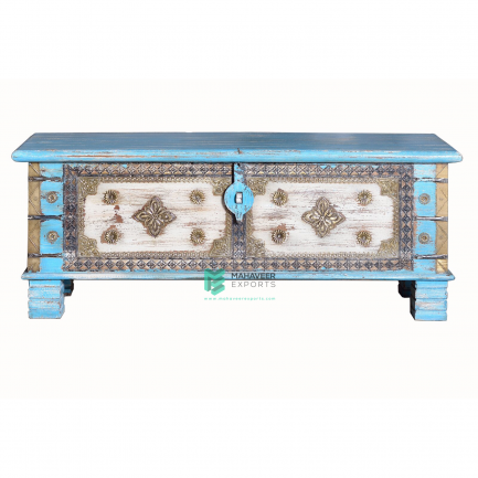 Blue and White Brass Wooden Chest Box