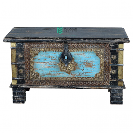 Black and Blue Brass Wood Chest Box