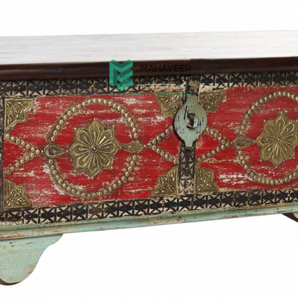 Light Green and Red Brass Wooden Chest Box