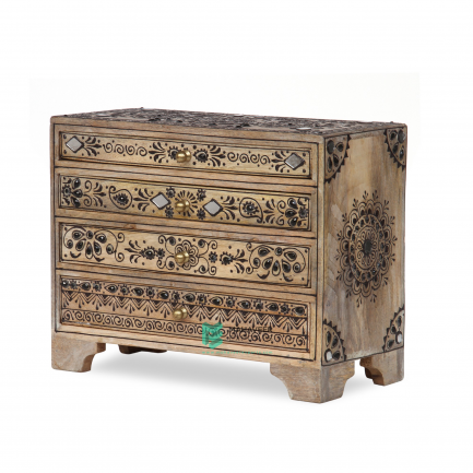 Fine Emboss Painted Small Chest of Drawers
