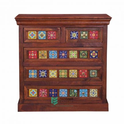 Tile Inlay 5 Drawer Sideboard