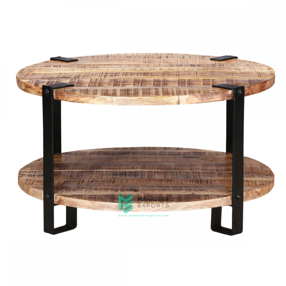Industrial Rustic Round Coffee Table