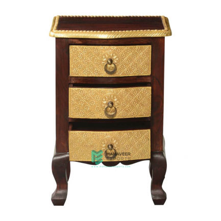Brass Inlay 3 Drawer Bedside