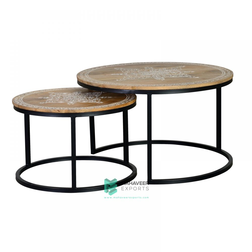 Emboss Painted Industrial Nested Tables