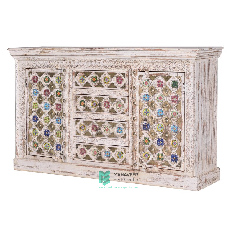 White Distressed Tile & Brass Inlay 4 Drawer 2 Door Sideboard