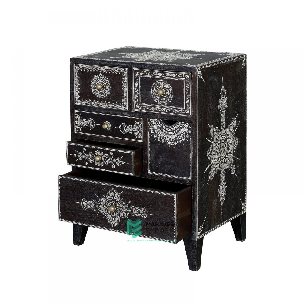 White Embossed Chest of Drawers
