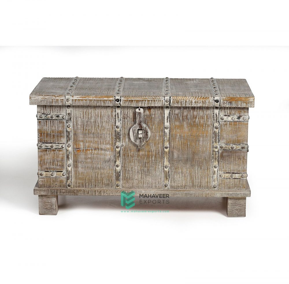 White Distressed Wooden Rustic Chest Box