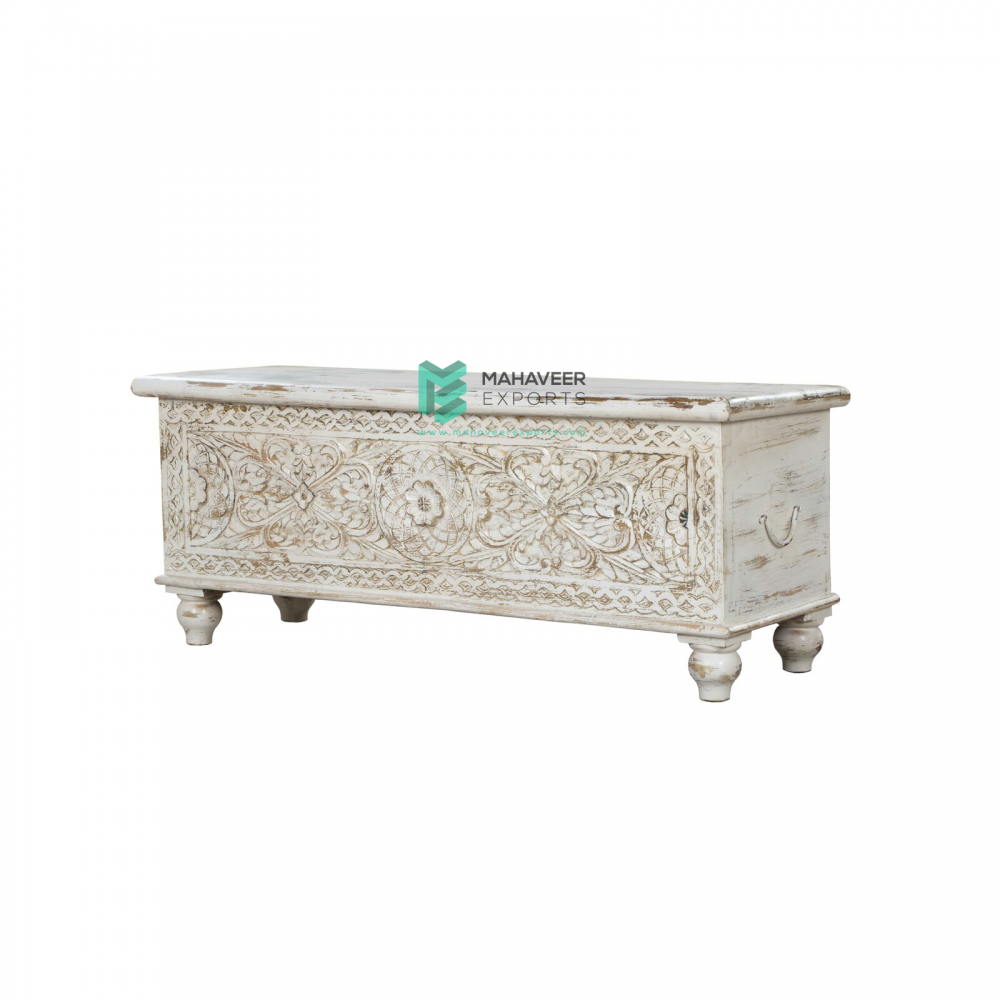 White Distressed Wooden Carved Chest Box