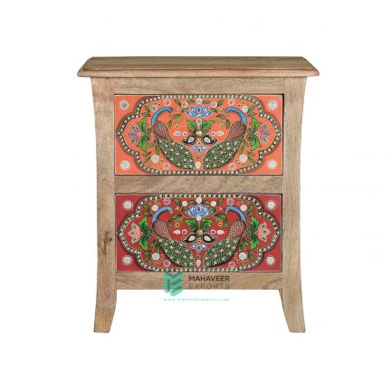 Peacocks Painted 2 Drawer Side Table