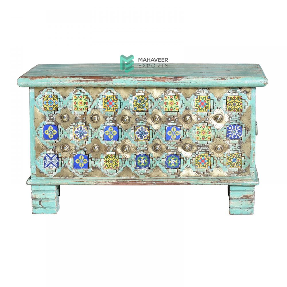 Turquoise Distressed Tile & Brass Inlay Wooden Chest Box