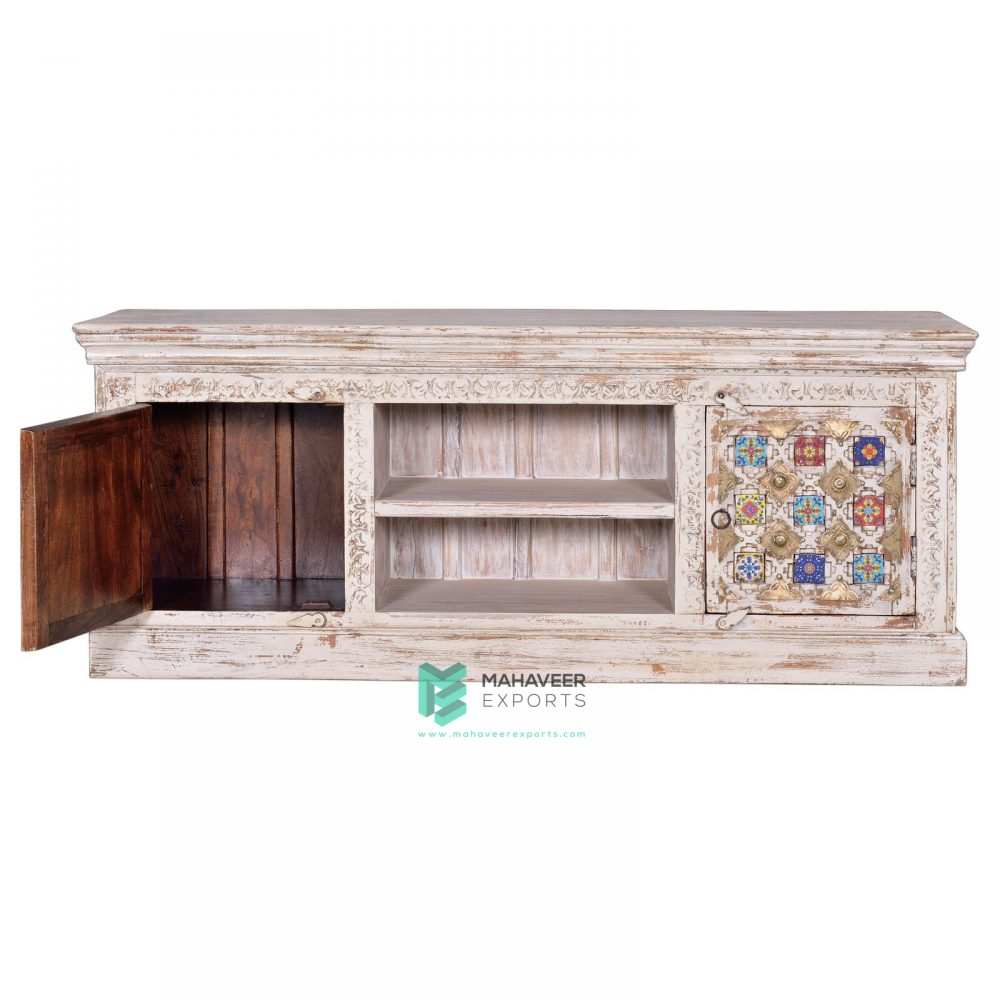 White Distressed Tile & Brass Inlay TV Cabinet