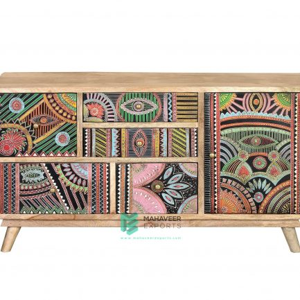 Oriental Painted Chest of Drawers Sideboard