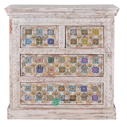 White Distressed Tile & Brass Inlay 4 Drawer Sideboard