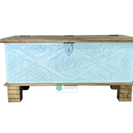 Blue Distressed Wooden Carved Chest Box