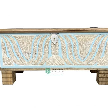 White-Blue Distressed Wooden Carved Chest Box