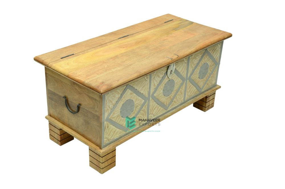 White-Grey Distressed Wooden Carved Chest Box