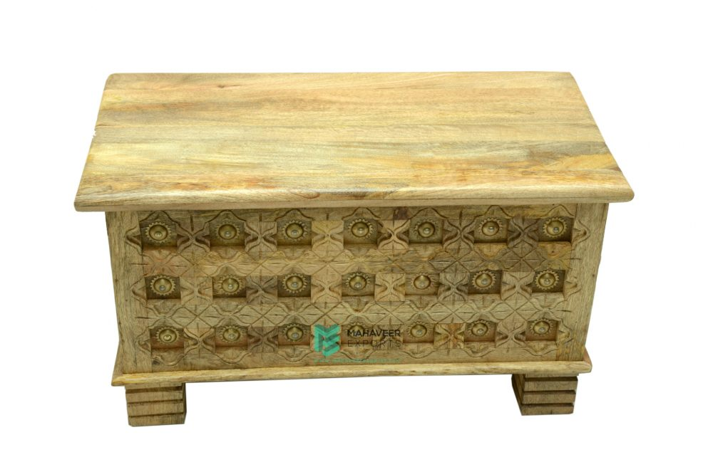 Carved Wooden Chest Box With Brass