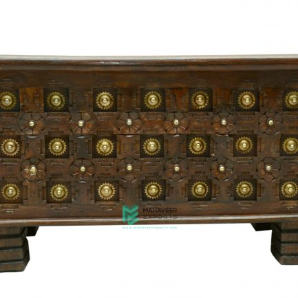 Bakhra Carved Wooden Chest Box With Brass