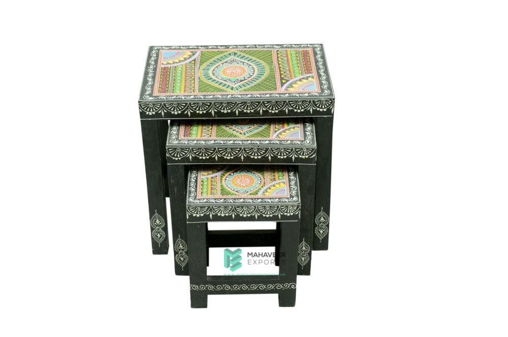Wooden Hand Painted Nesting Stools Set of 3