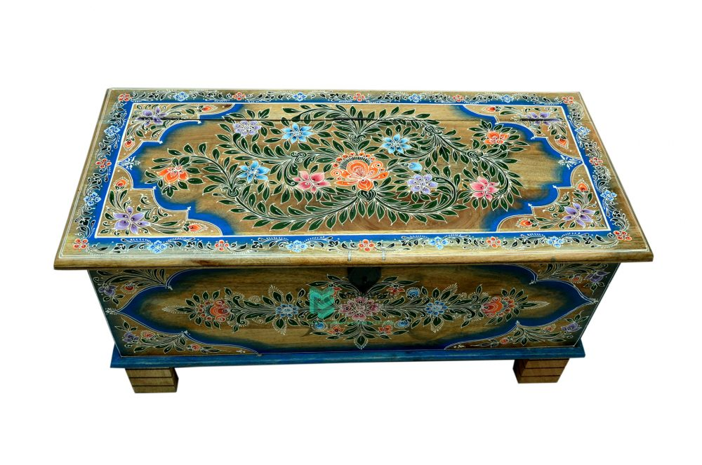 Floral Painted Wooden Chest Box