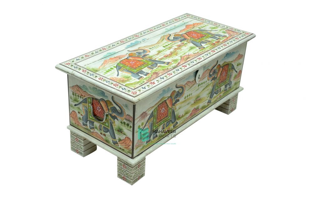 Elephant Painted Wooden Chest Box